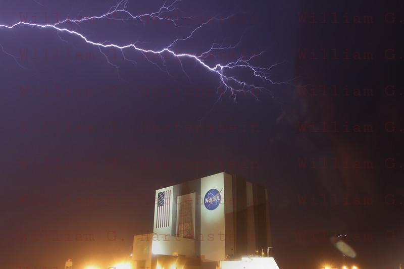 STS-134 Lightning at Press Site April 28, 2011