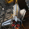 CAPE CANAVERAL, Fla. -- In the Vehicle Assembly Building at NASA's Kennedy Space Center in Florida, shuttle Atlantis is lifted by an overhead crane and moved into a high bay where it will be attached to its external fuel tank and solid rocket boosters which are already on the mobile launcher platform. Commander Chris Ferguson, Pilot Doug Hurley and Mission Specialists Sandra Magnus and Rex Walheim are expected to launch in mid-July, taking with them the Raffaello multi-purpose logistics module packed with supplies, logistics and spare parts