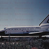 Space Shuttle Atlantis during its journey from Palmdale to Edwards AFB April 3, 1985