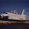 Space Shuttle Atlantis starts its journey from Palmdale to Edwards AFB April 3, 1985