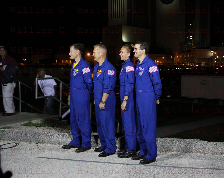 As STS-135 Atlantis Rolls out to Pad 39A for the last time the STS-135 Crew talks to the Media May 31, 2011
