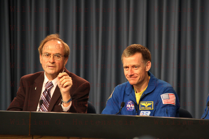 CAPE CANAVERAL, Fla. -- The crew of space shuttle Atlantis' STS-135 and final Space Shuttle Program Flight, participates in a news conference in the Press Site auditorium at NASA's Kennedy Space Center in Florida on landing day. Seen here is STS-135 Commander Chris Ferguson speaking to media. Securing the space shuttle fleet's place in history, Atlantis marked the 26th nighttime landing of NASA's Space Shuttle Program and the 78th landing at Kennedy. Main gear touchdown was at 5:57:00 am EDT