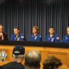 CAPE CANAVERAL, Fla. -- The crew of space shuttle Atlantis' STS-135 and final Space Shuttle Program Flight, participates in a news conference in the Press Site auditorium at NASA's Kennedy Space Center in Florida on landing day. Seen here are STS-135 Commander Chris Ferguson (left), Mission Specialists Sandy Magnus and Rex Walheim and Pilot Doug Hurley. Securing the space shuttle fleet's place in history, Atlantis marked the 26th nighttime landing of NASA's Space Shuttle Program and the 78th landing at Kennedy.