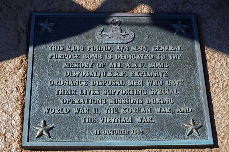 Date: 10/7/11<br /> Location: Okaloosa County, FL<br /> Explosive Ordnance Disposal (EOD) memorial