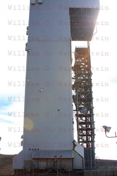 The Atlas 5 is in the MST the day before launch when I setup my remote cameras. This tower is rolled back about 5 hours before launch.