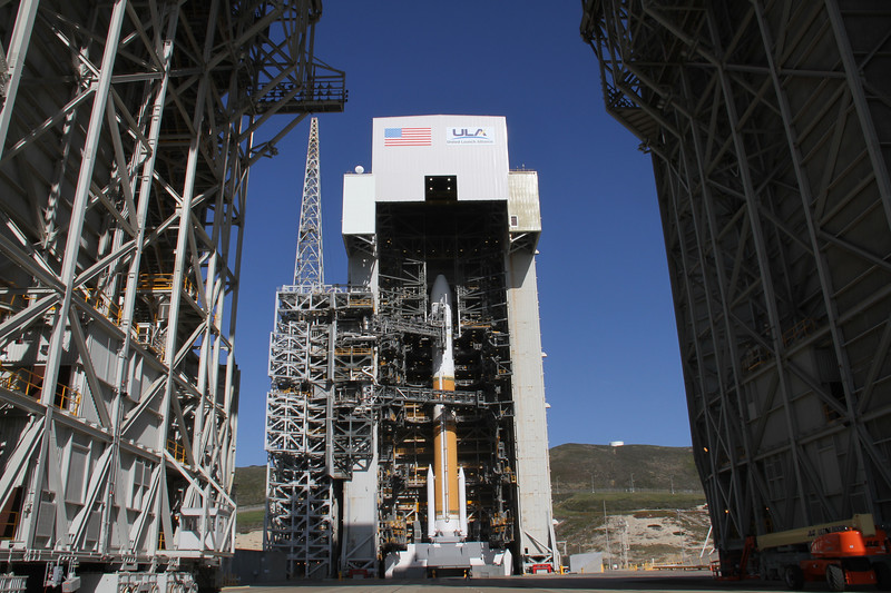 Photo of Delta 4/NROL-25 at Space Launch Complex 6 at Vandenberg AFB. April 2, 2012