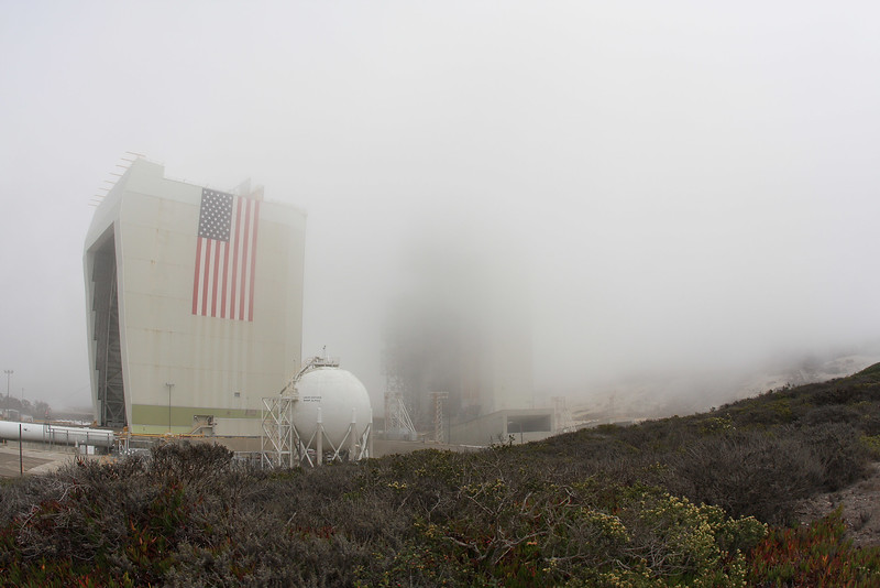 Trying to line up cameras on a rocket you can't see. SLC-6 Vandenberg AFB. Calif. Aug. 27, 2013