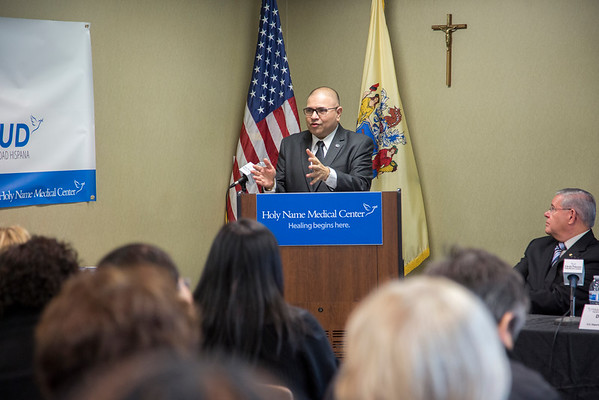 Affordable Care Act Latino Enrollment Initiative scaled up in Bergen County in final weeks before enrollment closes - Senator Bob Menendez, US Health and Human Services Executive Officer Dennis Gonzalez join Holy Name Medical Center to highlight enrollment initiatives.  Photo by Victoria Matthews/Holy Name Medical Center