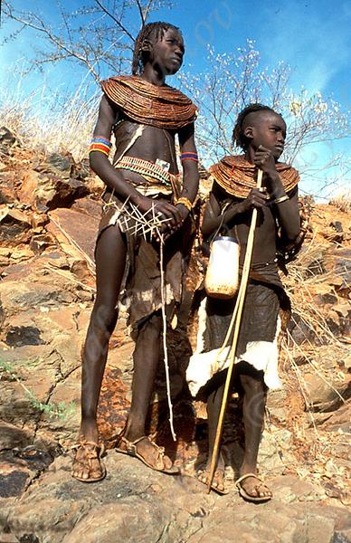 The Pokot people (commonly spelled Pökoot, and called Suk in older literature) live in the West Pokot and Baringo Districts of Kenya and in eastern Karamoja in Uganda. They speak Pökoot, language of the Southern Nilotic language family. A 1994 figure of SIL puts the total number of Pokot speakers at 264 000, while the slightly more recent Schladt (1997:40) gives the more conservative estimate of 150 000 people, presumably based on the figures found in Rottland (1982:26) who puts the number at slightly more than 115 000. Based on areal and cultural differences, the Pokot people can be divided into two groups (Rottland 1982): the Hill Pökoot and the Plains Pokot . The Hill Pokot live in the rainy highlands in the west and in the central south of the Pokot area and are both farmers and pastoralists. The Plains Pokot live in the dry and infertile plains, herding cows, goats and sheep. Many Pokot people from the present eastern part of the Pokot area claim that they come from the hilly areas of northern Cherengani (Bollig 1990). Halfway through the nineteenth century, they seem to have expanded their territory rapidly into the lowlands of the Kenyan Rift Valley, mainly at the expense of the Laikipia Maasai people. From Wikipedia, the free encyclopedia