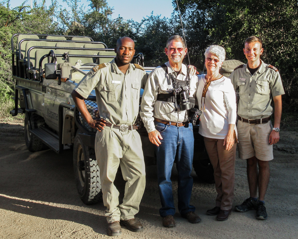Kenny, our Tracker, on the left and Francios, on our right, our Guide, flank us as we begin an incredible journey.