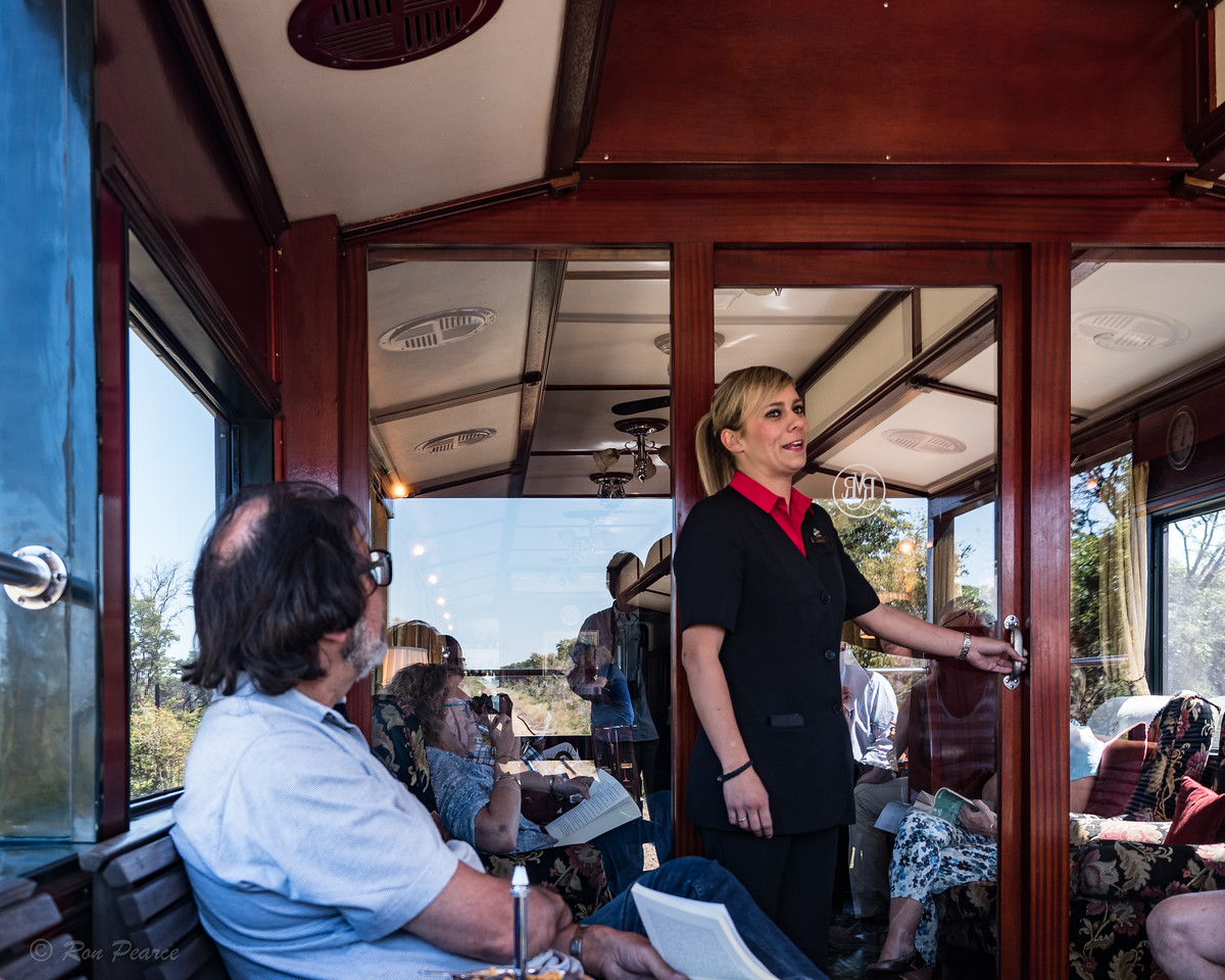"Our ""Train Manager"" Lucinda Du Plessis was outstanding.  She controlled every aspect of the train.  Switching of train engines, meals, boarder crossings, literally everything."
