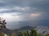 Of coarse, a storm with amazing wind and lightning rolls in over Table Bay. Since it is unsafe to run the cable car in high winds, about 60 of us were stranded on top of Table Mountain until after sunset (only a hour or so).