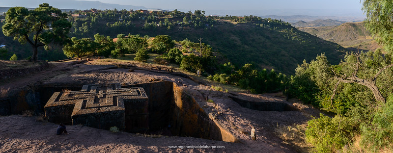 """Church of St. George (Amharic: Bete Giyorgis or Biet Giyorgis). It is among the best known and last built of the eleven Rock-Hewn Churches in the Lalibela area, and has been referred to as the """"Eighth Wonder of the World"""". Lalibela. Ethiopia."""