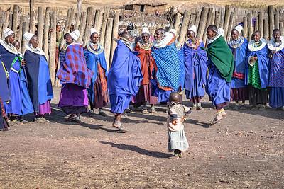 Little Maasai watches the adults dance