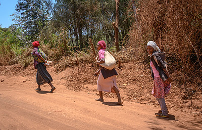 Tannzanian women walk in the red dust from town back home