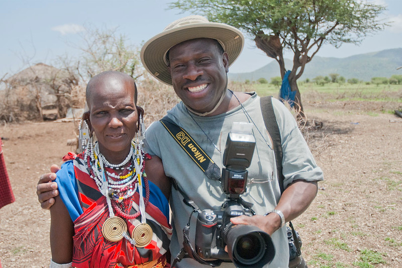George Campbell with a Maasai lady at the boma.