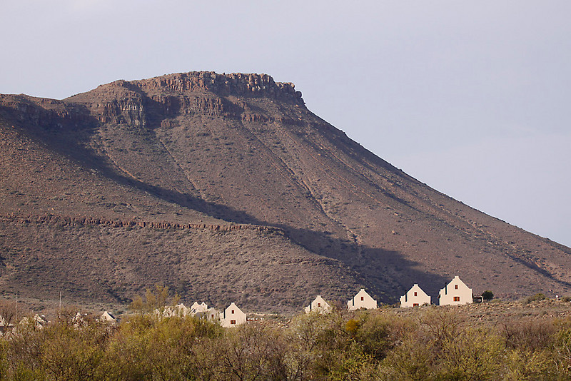 Chalets and mountain view, Karoo National Park.<br /> Aug. 16, 2009<br /> ©Peter Candido All Rights Reserved