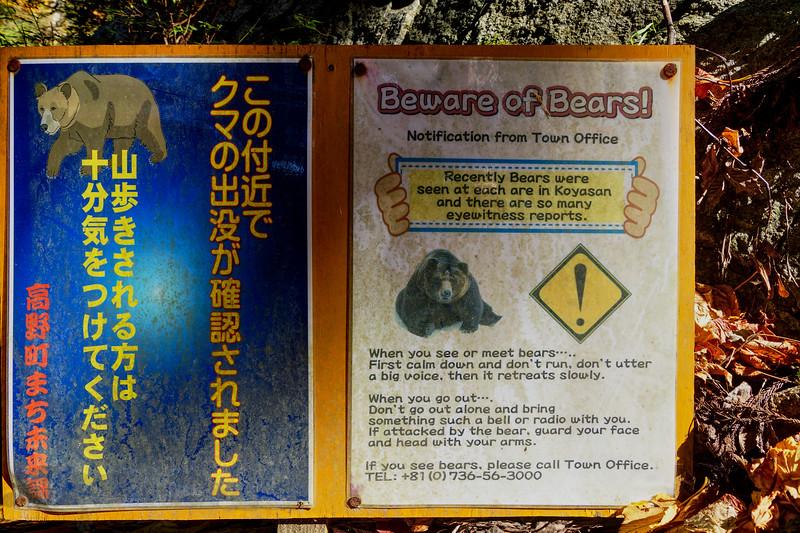 Bear Warning Sign - Koyasan Trail