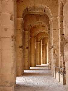 Columns in The Amphitheatre at El Jem, Tunisia