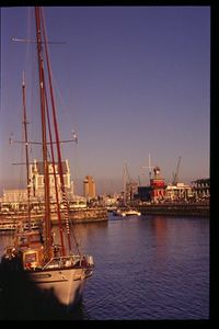 Cape Town harbor at sunset