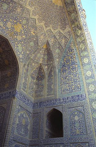 Door detail of the Imam Mosque in Esfahan