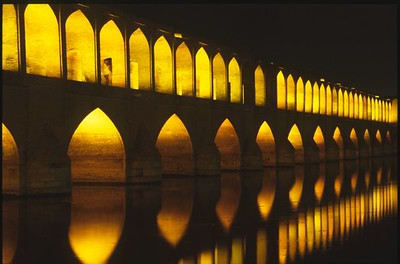 Si-o-Seh or 33 Arch Bridge in Esfahan at night