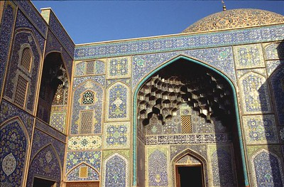 Detail of the doorway at Sheikh Lotfollah Mosque in Imam Square in Esfahan