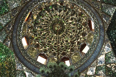 Mirrored interior of the dome of the Mausoleum of Shah-e Cheragh in Shiraz