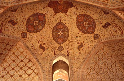 Interior of the Ali Qapu Palace in Imam Square in Esfahan