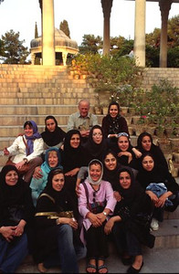 Group picture with the locals at Hafez tomb in Shiraz