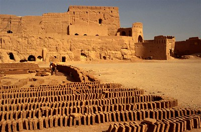 Lots of brick made at an old fort in route between Yazd and Esfahan