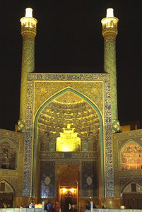 Imam Mosque at night in Imam (formerly Shah) Square in Esfahan