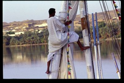 Battening down for the night, The Nile River