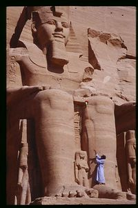 Cleaning Ramses' Knees, Abu Simbel Temple