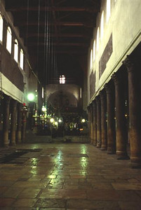 Interior of the Church of the Nativity; dark, but full of history