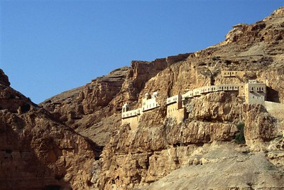 Greek Orthodox Monastery of the Temptation in the mountains above Jericho, Palestine, where Jesus was thought to be tempted by the devil during his 40 days in the desert; reached by cable car from Jericho