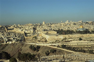 Jerusalem with its walls that date from the 14th century from the Mount of Olives