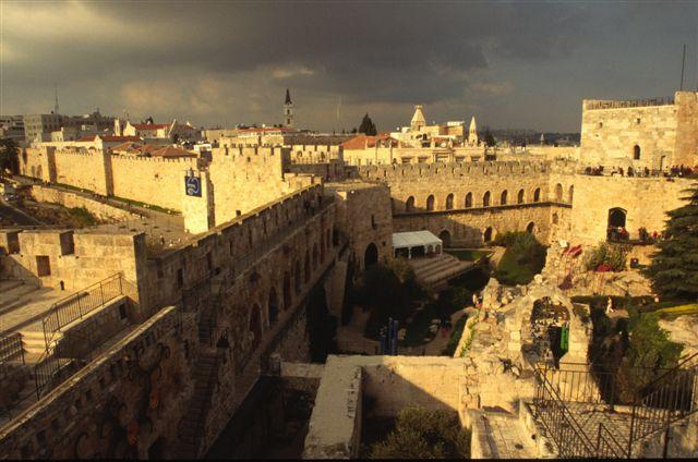 Citadel interior and Jerusalem's wall at the Jaffa Gate