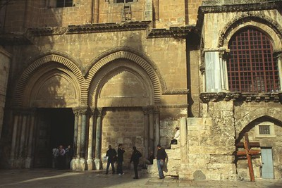 Entrance to the Church of the Holy Sepulchre in the Christian Quarter of Jerusalem at the spot where Jesus is thought to have been crucified.