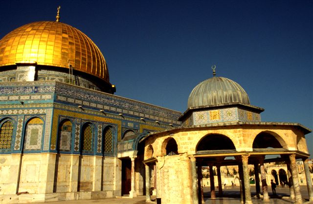 Dome of the Rock mosque with the Dome of the Chain (smaller dome in the foreground)