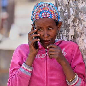 Telephomgespräch in Addis Abeba