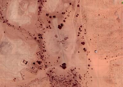Selbst auf dem Google-Satellitenbild sind die langen Spuren der Zugtiere zu sehen