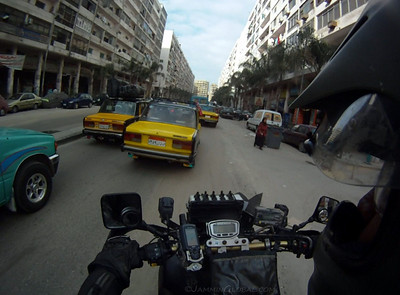 Rolling on the streets of Alexandria. I love the feeling of the first few kilometers in a new country, especially on a new continent. So many new things to process: how do people drive here, do they respect motorcycles, what are the rules of cutting through traffic, how do pedestrians act, etc.