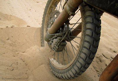Not the most ideal tires for riding sand, but I managed.
