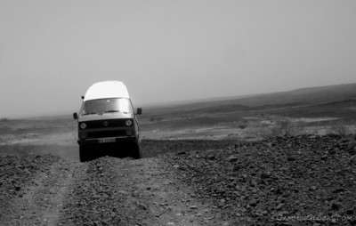 The Syncro cresting the desert road.