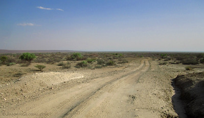Getting a glimpse of Lake Turkana on the horizon as we entered Sibiloi National Park.