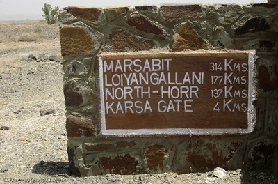 A distance board at a junction in the desert. Heading east across the Chalbi Desert from here would take us to Marsabit, but we were heading south to Loiyangallani, but first to Karsa Gate, the entrance to Sibiloi National Park.