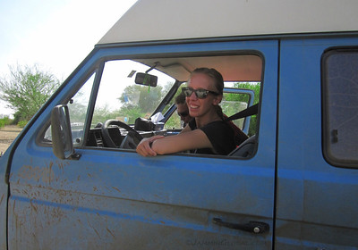 ...Katie at the wheel. She was thoroughly enjoying this excursion into Africa and was glad to have met Ferdi who introduced her to a life of camping and traveling.