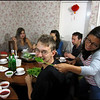 A welcome back dinner with my old friends in Nairobi. Diana, from Colombia, is feeding Mica, from the States, with some spinach, as Max, from Belgium, looks on in glee. Davide, from Italy, is concentrating on his chopstick etiquette while Carrie and Margarita from the UK stir up the...