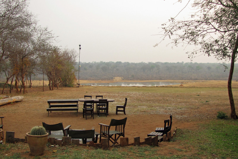Ivory Lodge waterhole; there is a hide near the water.